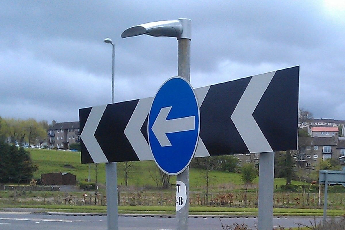 Apollo Alpha sign light installed on traffic island close up