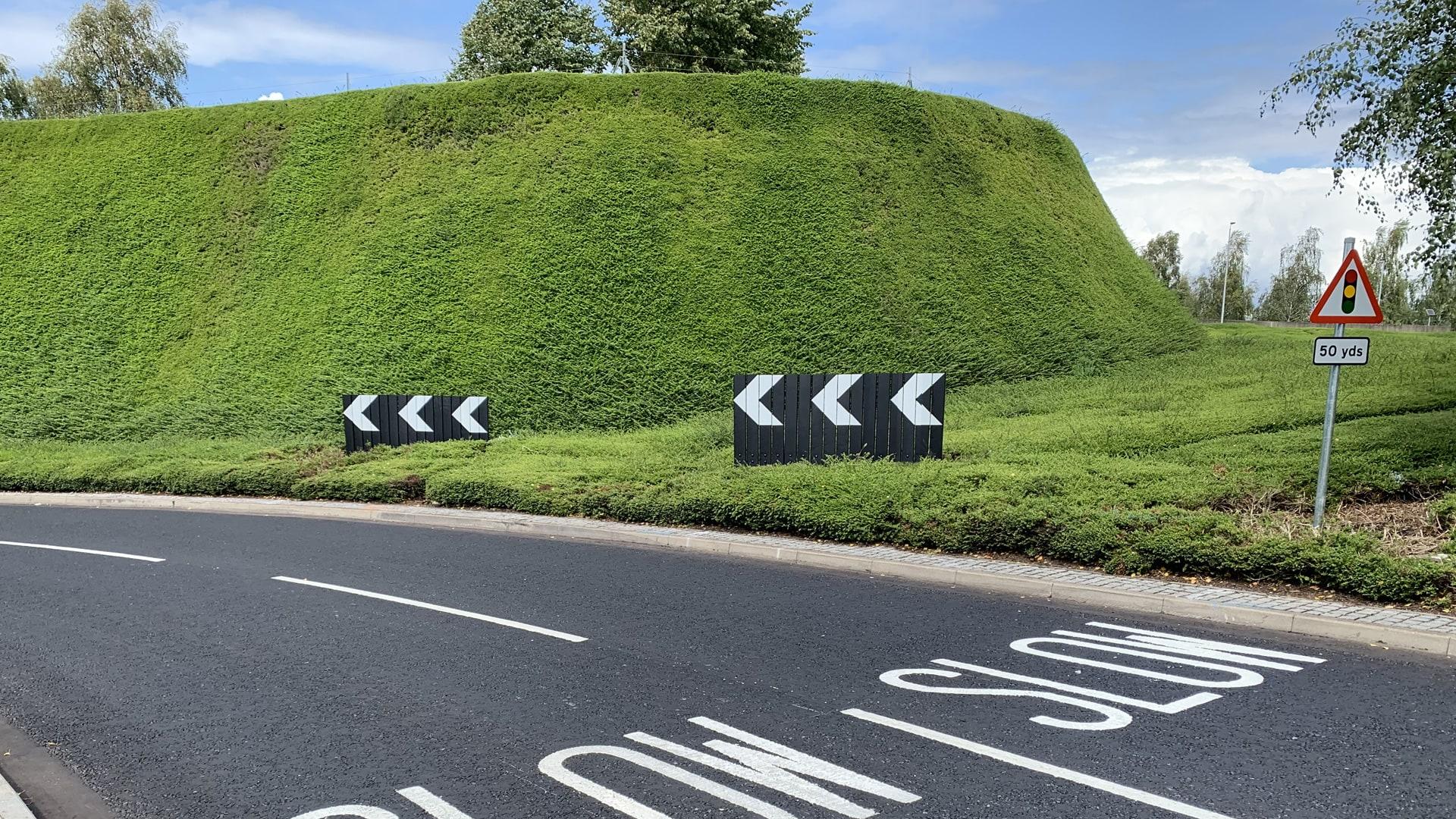 Evo-Chev Passive Chevron on road at Heathrow