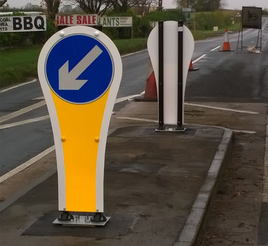 Mega Flecta high speed traffic bollard installed uk roads