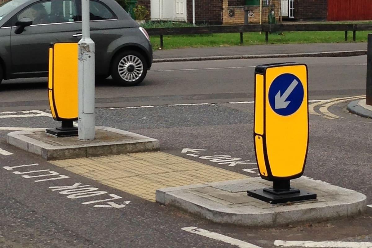 TMP Evo-s led solar keep left traffic bollard on UK roads