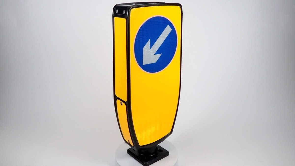 Solar traffic sign bollard traffic keep left
