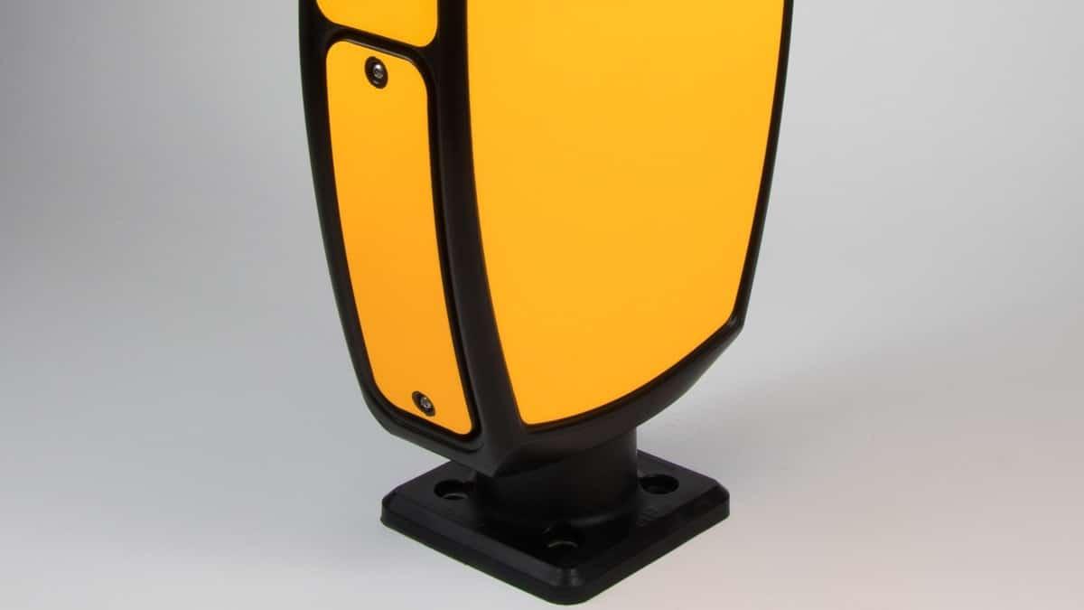 Solar traffic sign bollard close up