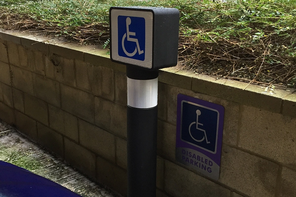 Pegasus double sided disabled parking sign bollard 1